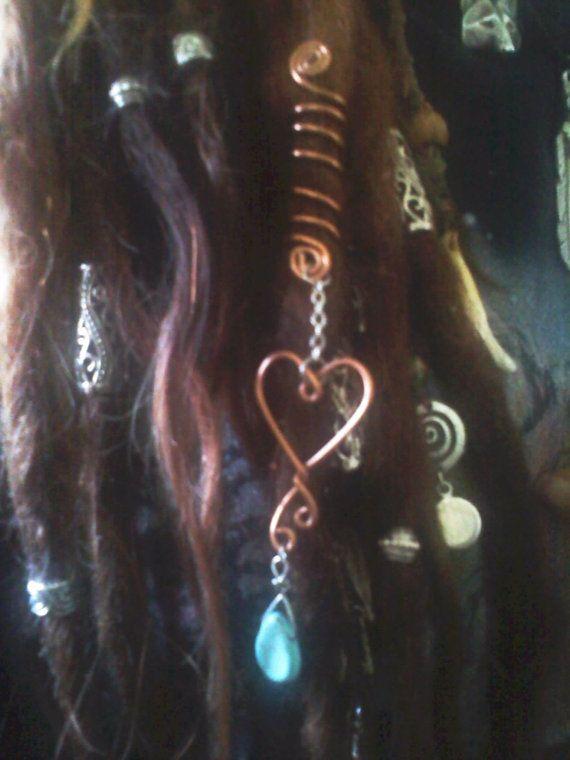 Golden Heart Turquoise Drop Dread Wrap