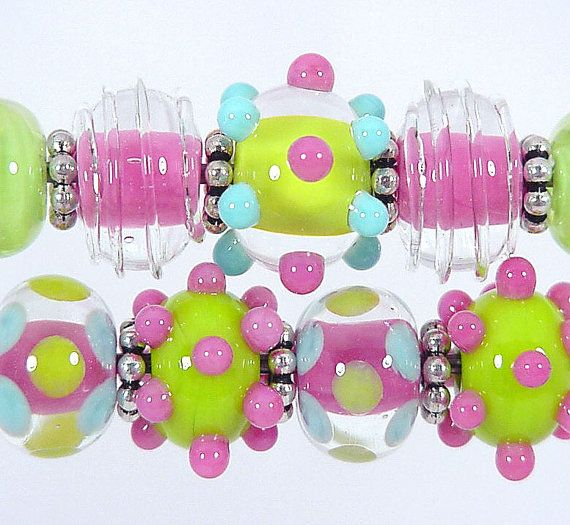 BEACH BABIES PinkLimeBlue Lampwork Bead Set 9 by SharplineDesigns <3<3<3WANT THESE~ADORE THEM~AWESOME COLOUR MIX<3<3<3 @