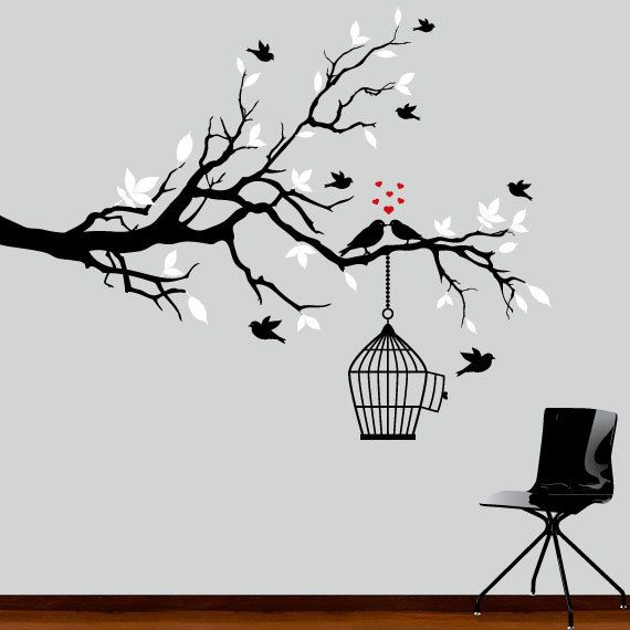 Wall Decal - black and white tree branch decal with birds wall decor. $79.00, via Etsy.