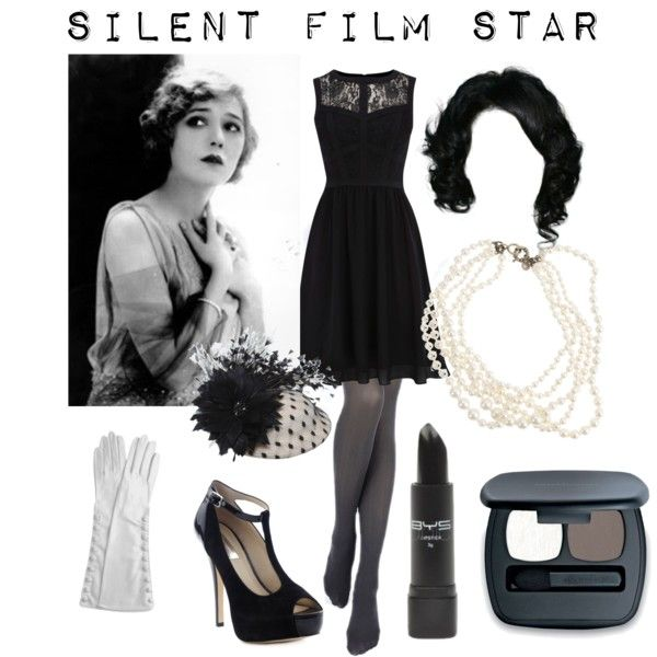 Silent Film star; 1920s black and white and carry around those little dialogue signs, too.
