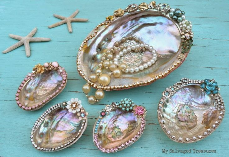 Jewelled abalone shells my My Salvaged Treasures, featured on Funky Junk Interiors