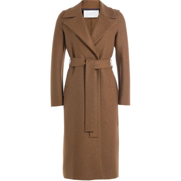 Harris Wharf London Merino Wool Duster Coat (€545) ❤ liked on Polyvore featuring outerwear, coats, beige, duster coat, tie belt, brown duster coat, merino wool coat and beige coat