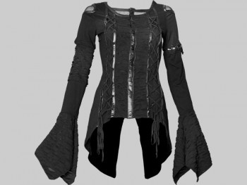 This gothic long-sleeve top for women by Queen of Darkness has following features:        long flowing sleeves with wide endings      black cotton fabric with sheer detail      fake leather applications      laced string detail      swallow tail back      drawstrings in back for fitted waist      quality made by Queen of Darkness
