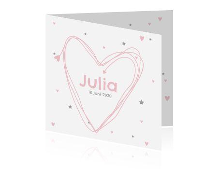 Prachtig en simpel kaartje voor de geboorte van jullie dochter. Leuke sterren en hartjes achtergrond. De kleuren zijn aan te passen naar eigen smaak!