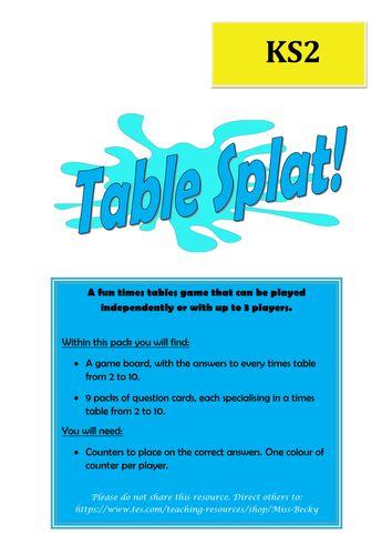 Times Tables Splat Board Game KS2