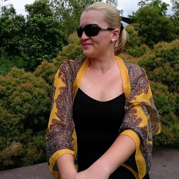 Yellow Chiffon Bolero Shrug Gold Paisley Border