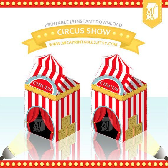 Magic Circus Tent Printable Party Favor Treat Box by MicaPrintables