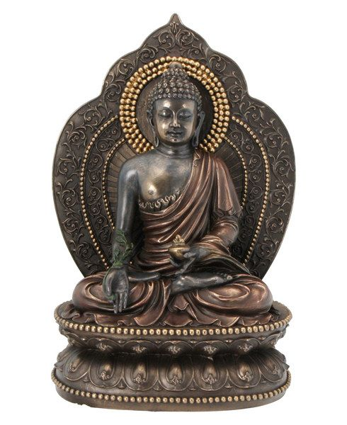 Medicine Buddha or Amitabha is the Buddha of infinite light. Oldest of the celestial Buddhas of Mahayana Buddhism, he is said to have earned his place through karmic effort. In his left hand he holds a bowl.