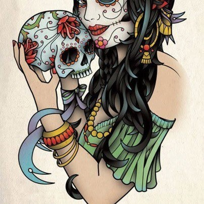 Muertita holding a sugar skull. #tattoos #tattoo #ink