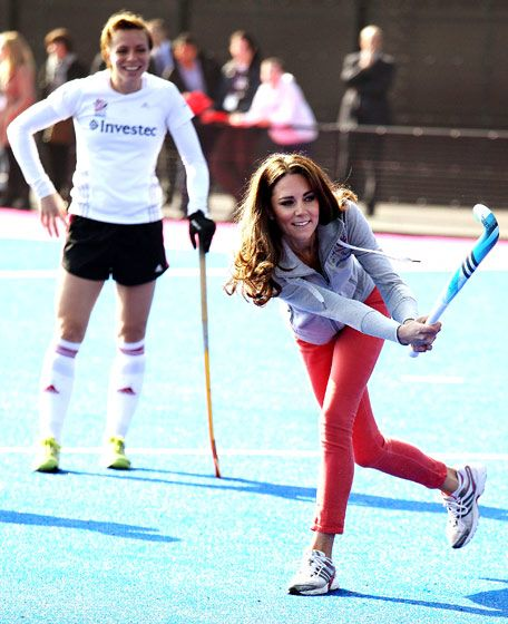 March 2012--She shoots--she scores! With husband Will away for six weeks attending to his Royal Air Force assignment in the Falklands, Kate kept busy at home--celebrating St. Patty's Day, and visiting Great Britain's official Field Hockey team in London's Olympic Park.