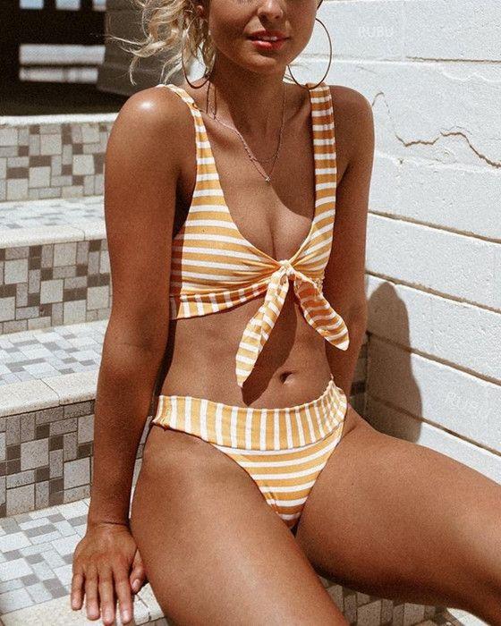 Women's Sexy Push Up Stripe Bikini With Bow