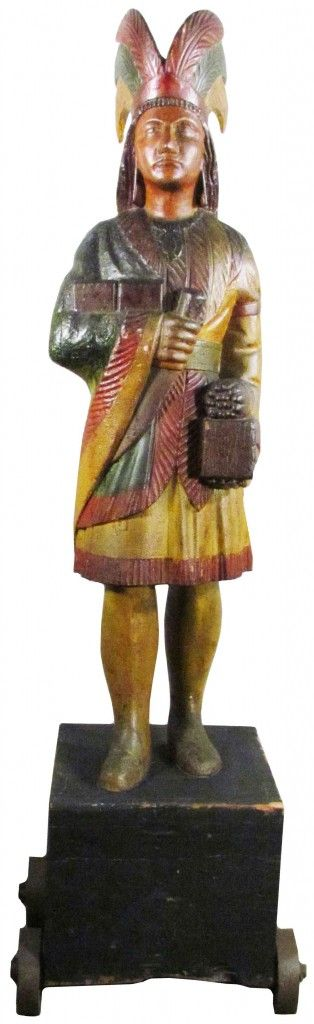 This Samuel Robb 1880s carved Cigar Store Indian with original paint intact, standing 5 feet tall, neared $100,000 at a three-day auction event conducted by Showtime Auction Services. It finally gaveled for $94,400.