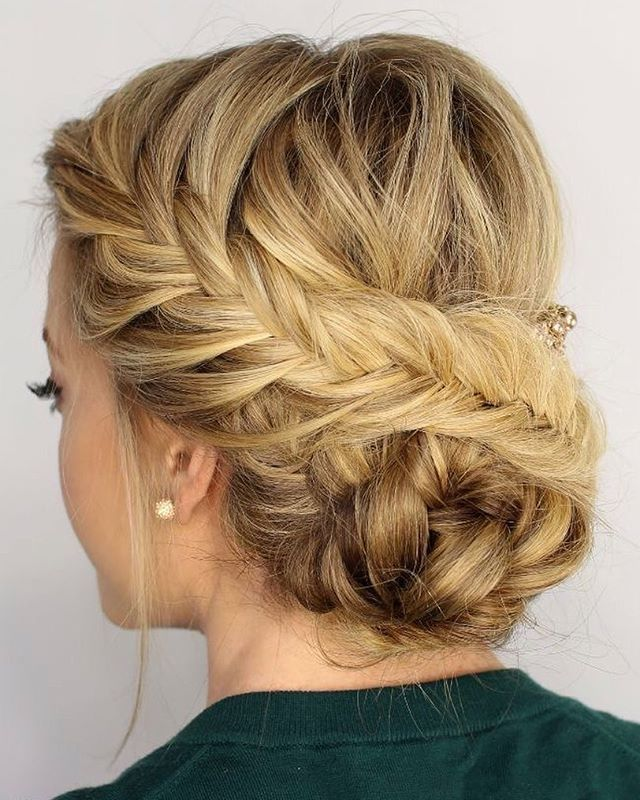 French braid hairstyle, braided updo #updo #frenchbraid #weddinghair