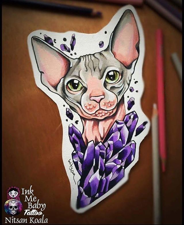 The Crystal Sphynx cat ! New design is now available for getting Inked…