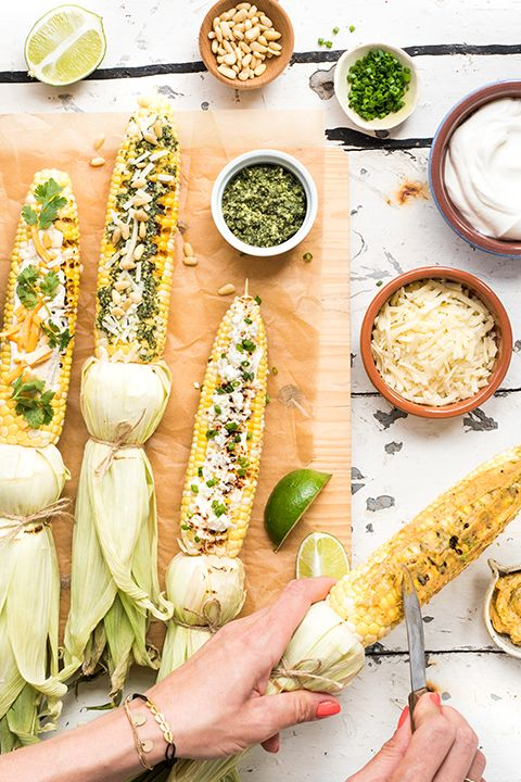 INGREDIENTS BY SAPUTO   There's more than one way to enjoy grilled corn on the cob. Try one of our seasoning ideas: 1. Butter, lime and paprika; 2. Coriander and cumin with shredded cheese; 3. Pesto and pine nuts with Parmesan cheese; or 4. Cayenne pepper and chives with Feta. These easy topping recipes are sure to kick your summer corn roasts up a notch!