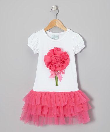 Look at this #zulilyfind! White & Hot Pink Rosette Dress - Infant, Toddler & Girls #zulilyfinds