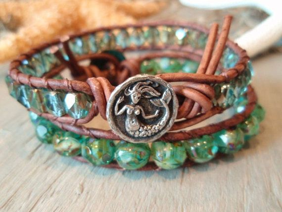 Mermaid leather wrap bracelet Enchanted Mermaid teal by slashKnots, $52.00