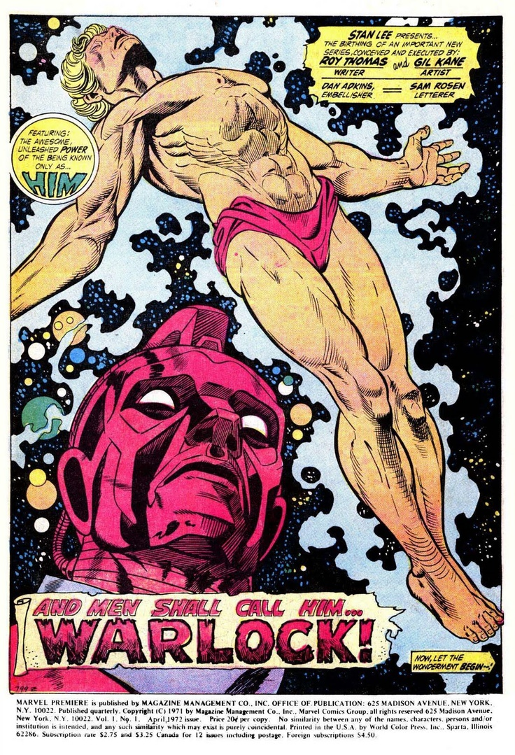 Warlock emerges from his cocoon as the High Evolutionary watches. Art by the legendary Gil Kane.