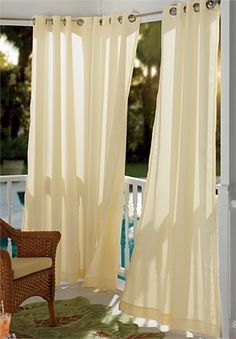 outdoor drapes on a metal awning - Google Search