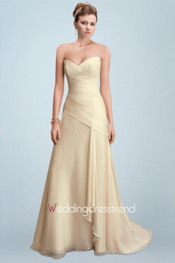 Fantastic Pale Yellow Designer Bridal Gown with Sweetheart Neckline and Fancy Chiffon Dress