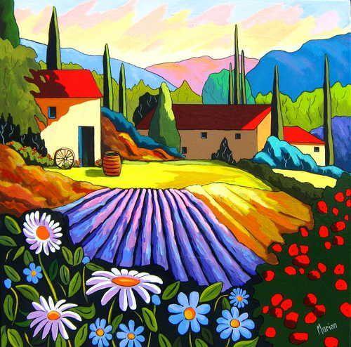 Clin d'oeil provencal - Louise Marion, artiste peintre, paysage urbain, Quebec, couleurs