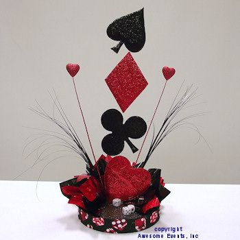 High Roller Centerpiece - DIY table decoration kit with suit symbols, dice, sprays and themed ribbon edge. http://www.awesomeevent.com/theme-wedding/casino-centerpiece.aspx