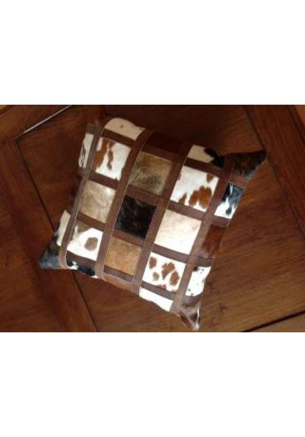 Nguni block with leather tape cushion , A genuine Nguni hide block cushion with leather tape