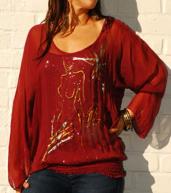 Handpainted Silk Top with Camisole