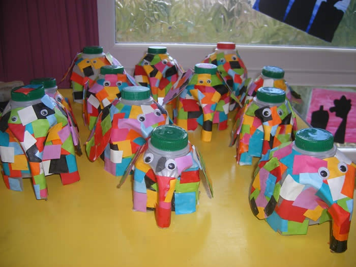 Milk bottle elephants!  Elmer .....beautiful and unique just like you are....this weeks lesson