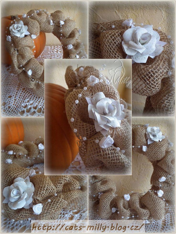 burlap, wreath, white paper rose