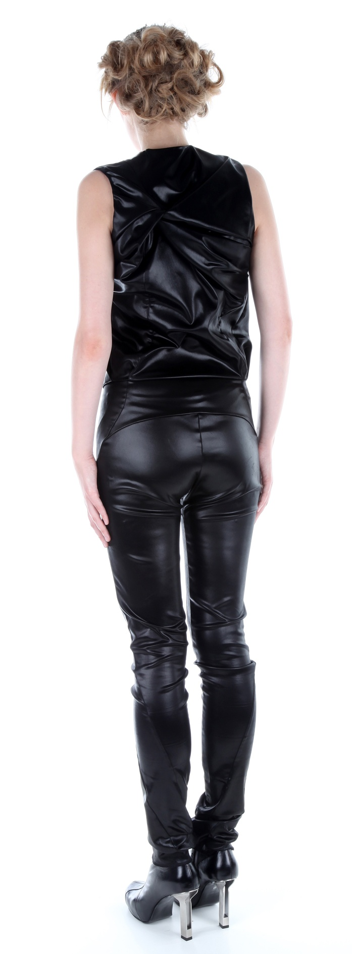Back view: Jumpsuit ( silk satin), shoes ( leather, stainless-steel heel)