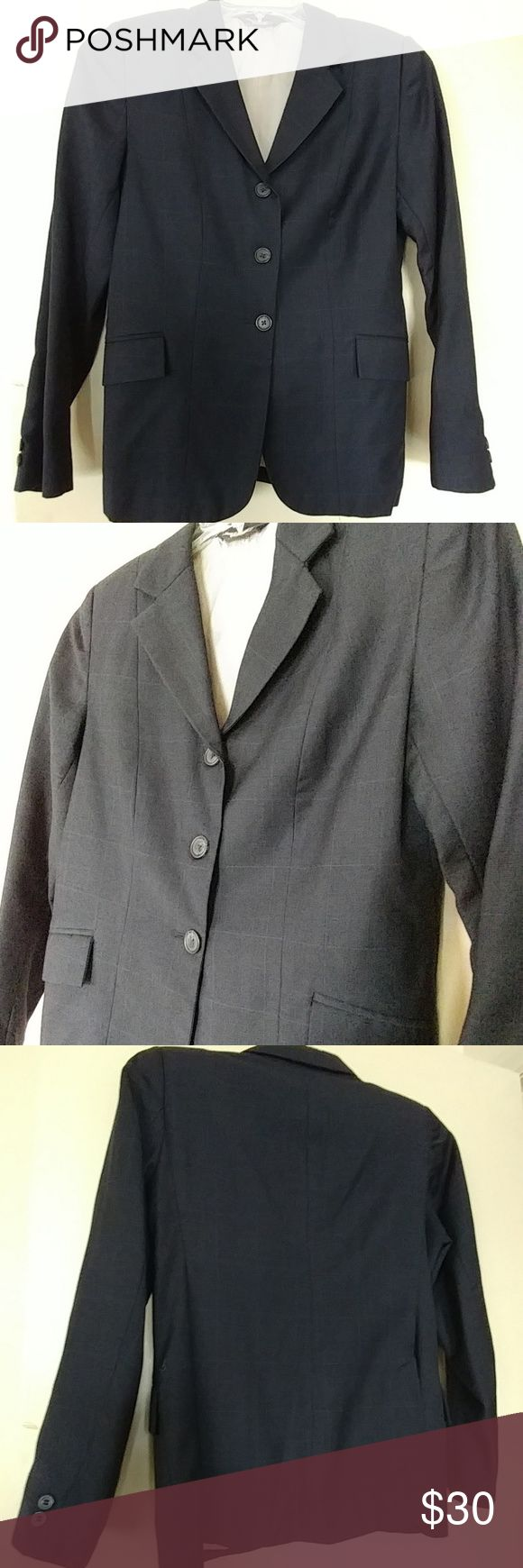 "WOMEN'S EQUESTRIAN RIDING SHOW BLAZER SIZE S/M ""THE ELITE"" FROM CANADA.  WOMENS EQUESTRIAN RIDING SHOW BLAZER SIZE S.  NAVY WITH LIGHT BLUE WINDOW PANE SQUARE PINSTRIPES.   No size label but fits S.  Fully lined.  Hand crafted.  Rear slits for mobility.  Button adorned sleeves.  Front pockets.  Excellent Used condition.  Worn twice.  Beautiful blazer for any occasion. English Factory Jackets & Coats Blazers"