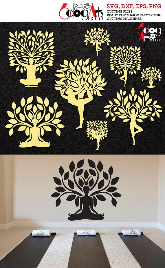 Yoga Tree Of Life Logos Vector Digital Cut Files Svg Dxf
