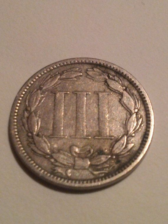 3 cent nickel 1873 type coin. collectible by DrewsCollectibles, $27.00