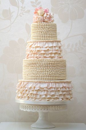 Beads and frills wedding cake with roses