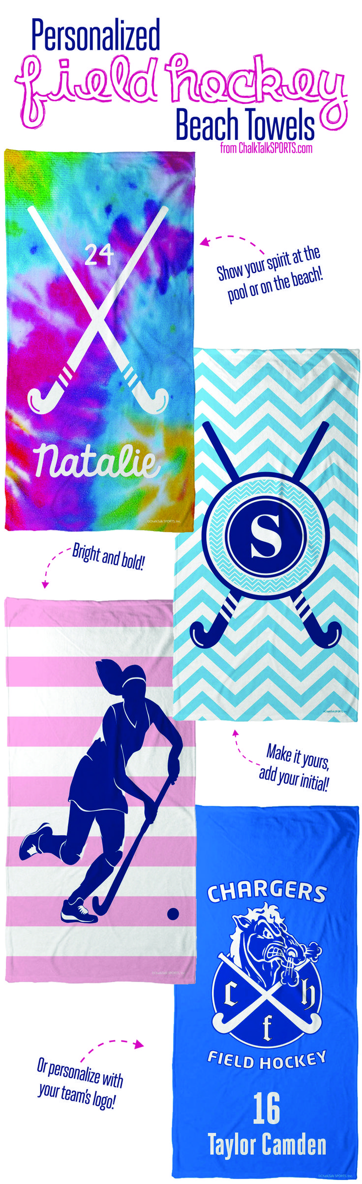 How cute are these personalized field hockey towels?! Get yours now at ChalkTalkSPORTS.com!