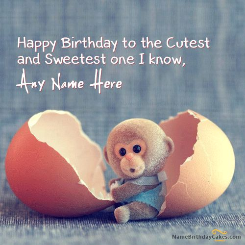 Write name on Cute Monkey Birthday Wish. This is the best idea to wish anyone online. Make everyone's birthday special with name birthday wishes.