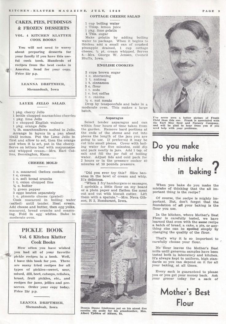 Kitchen Klatter Magazine, July 1940 - Layer Jello Salad, Cheese Mold, Cottage Cheese Salad, English Cookies, Asparagus