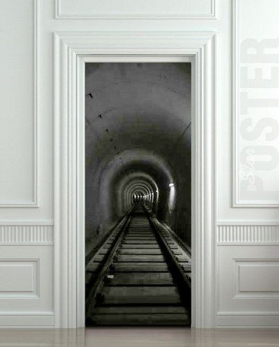 "Door STICKER Subway tunnel railway mural decole film poster 31x79""(80x200 cm)   pulaton - Print on ArtFire"
