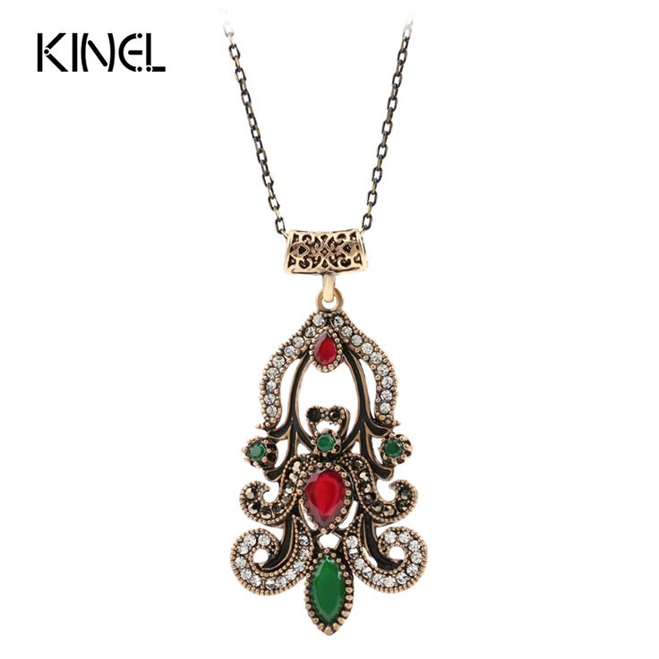 Vintage Indian Jewelry Fashion Pendant Necklace For Women Plating Ancient Gold Turquoise Choker Bohemia Bijoux Bar Necklace