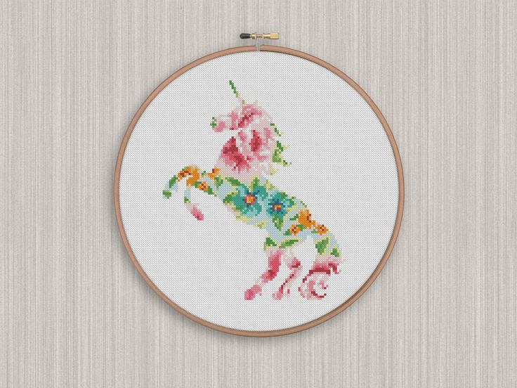 BOGO FREE! Unicorn Cross Stitch Pattern, Unicorn Flowers Silhouette Counted Cross Stitch, Animal Modern Home Decor, Instant Download #025-20 by StitchLine on Etsy
