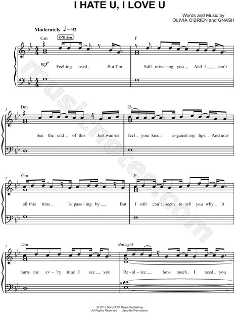 FREE PDF Piano sheet music for I Hate U, I Love U by gnash feat. olivia o'brien. Easy Piano
