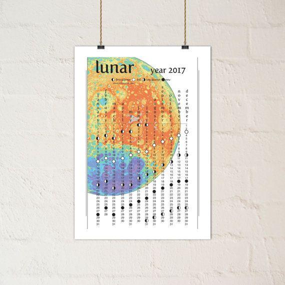 2017 Rainbow Moon Lunar Calendar  Printable PDF by paper4download