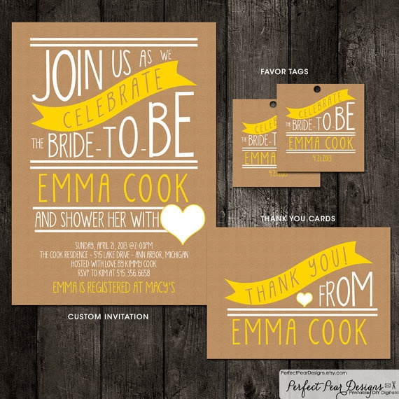 Bridal Shower Invitation Combo Pack, Faux Kraft Paper, Hand Written Poster Style - Baby Shower, Same-sex unions DIY Printable Digital. $29.50, via Etsy.