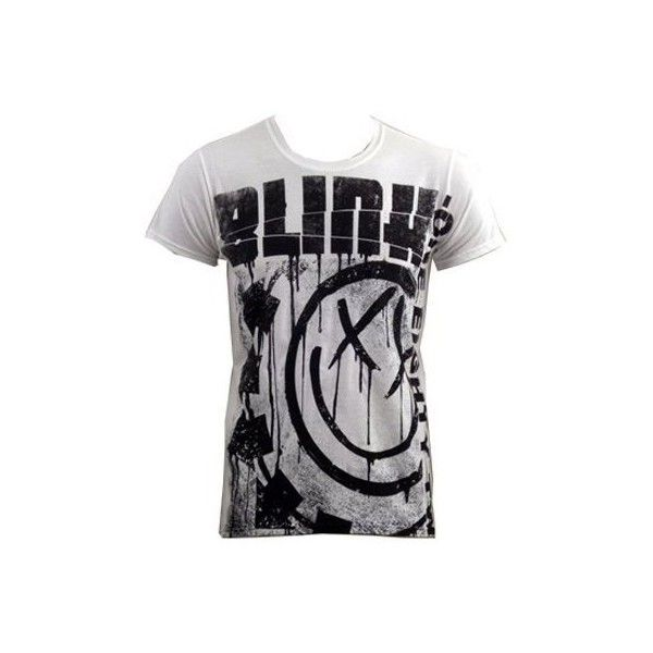 Blink 182 T-Shirt Spelled Out Jumbo Print ($23) ❤ liked on Polyvore featuring tops, t-shirts, shirts, men, blink 182, band merch, logo t shirts, pattern t shirt, punk rock t shirts and print t shirts