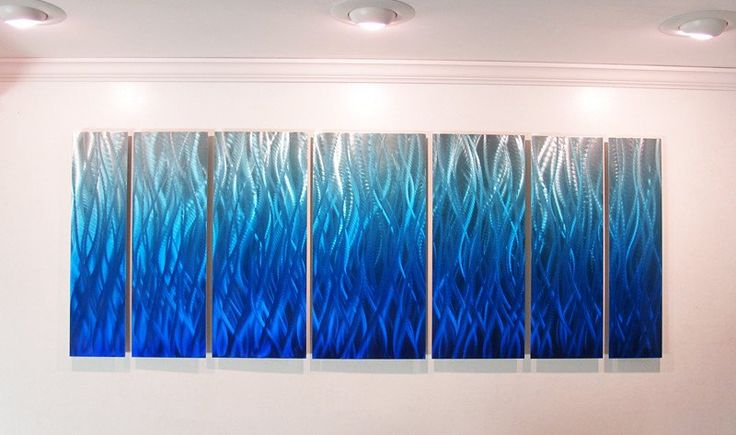 """Blue Flame"" 68""x24"" Large Modern Abstract Metal Wall Art Sculpture Blue"