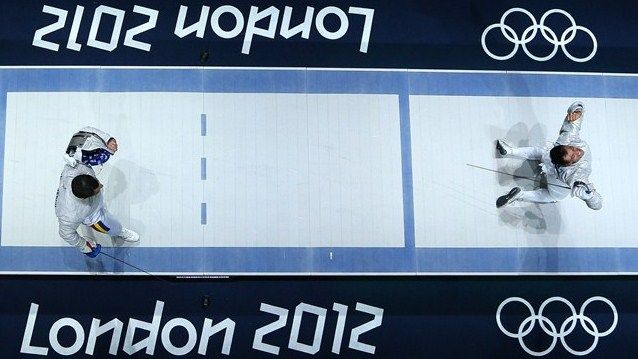 Britta Heidemann of Germany competes with Shin A Lam of Republic of Korea