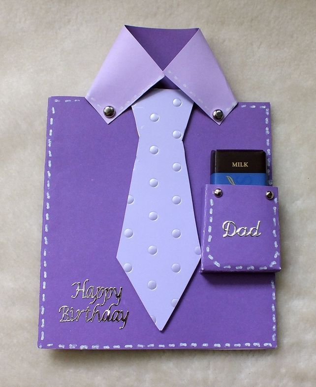 Dad's Birthday Handmade Shirt & Tie Card With Free