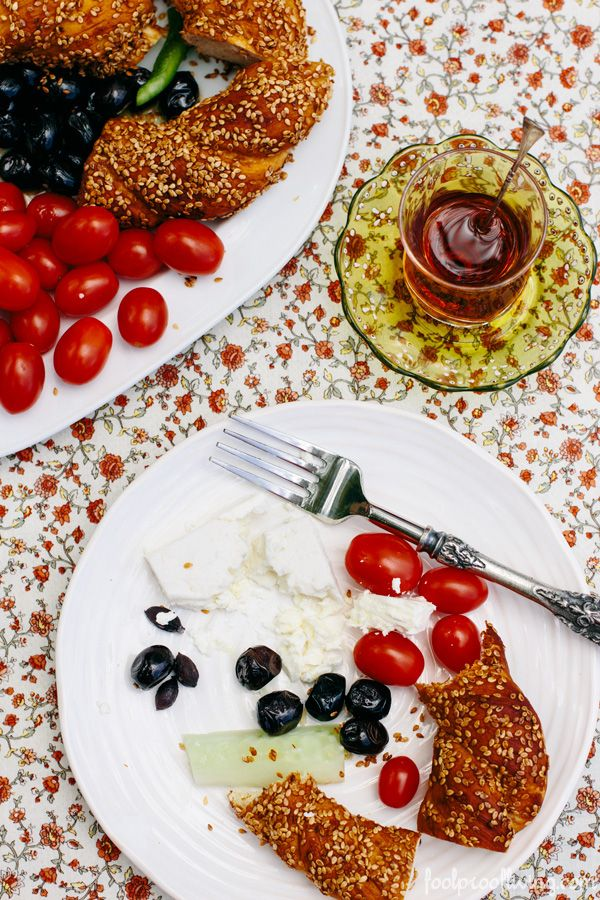 Turkish breakfast with simit