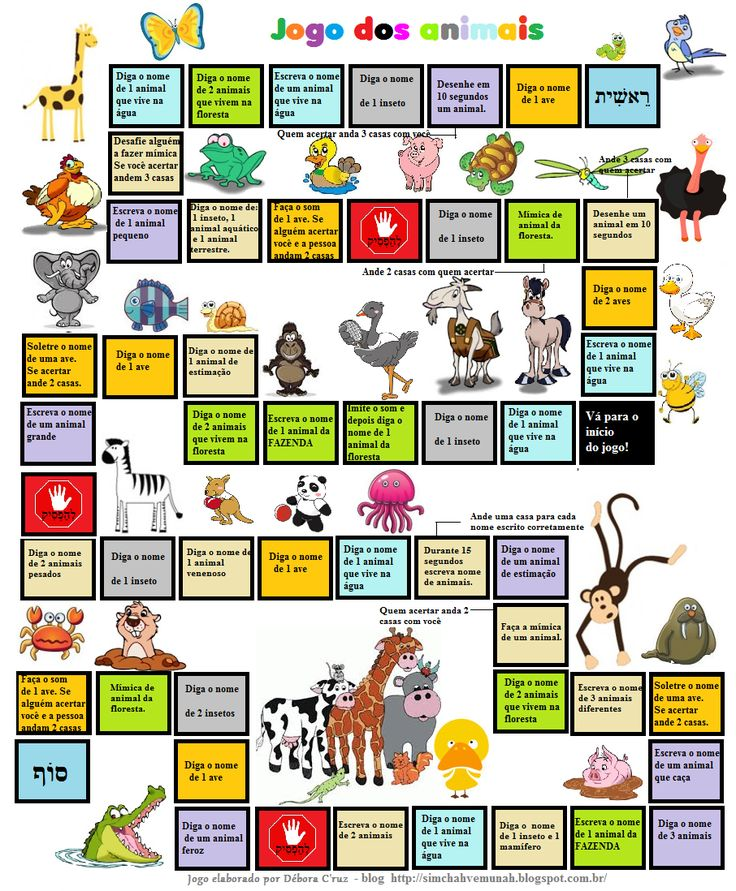 שמחה ואמונה: Jogo de tabuleiro para reforçar o nome dos animais...